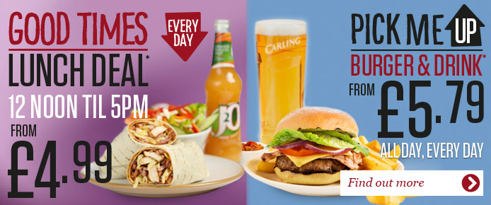 Happy Days Lunch Deal, Every day 12 noon til 5pm. Burger & drink, All Day Every day
